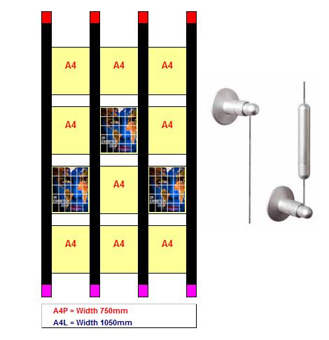Wall Set Displays 4 Per Row 12xa4 Suspended Acrylics